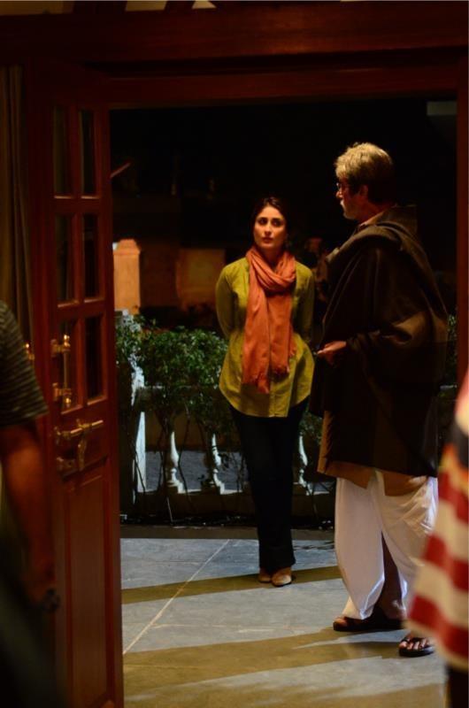 "Amitabh Bachchan and Kareena Kapoor during the shooting of upcoming film ""Satyagrah"""