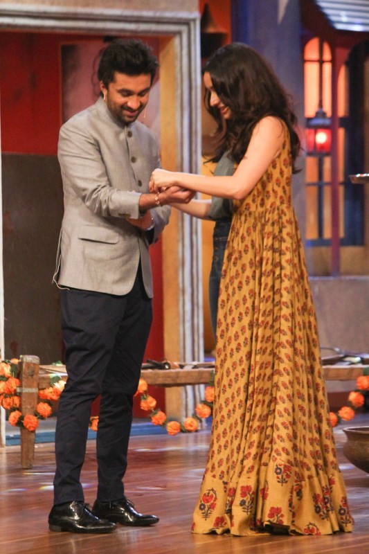 Raksha Bandhan,Shraddha Kapoor ties rakhi to Siddhant,Siddhant Kapoor,Shraddha Kapoor,The Drama Company set,The Drama Company