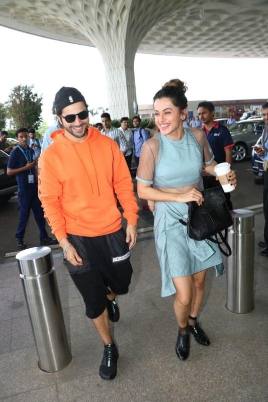 Varun Dhawan and Taapsee Pannu,Varun Dhawan,Taapsee Pannu,Varun Dhawan spotted at airport,Taapsee Pannu spotted at airport