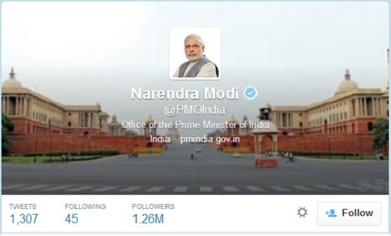 Narendra Modi takes charge of PMO twitter handle