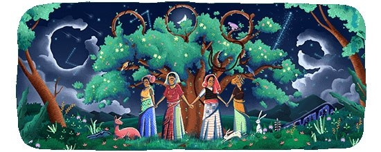 Google Doodle,Google Doodle salutes Chipko Movement,Chipko Movement,45th anniversary of  Chipko Movement,Chipko Movement pics,Chipko Movement images