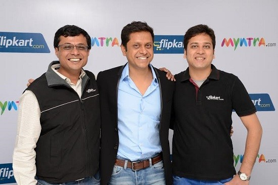 (L-R) Sachin Bansal, Co founder & CEO, Flipkart, Mukesh Bansal, Co founder & CEO, Myntra, Binny Bansal, Co founder & COO,Flipkart at the press conference to announce the deal.