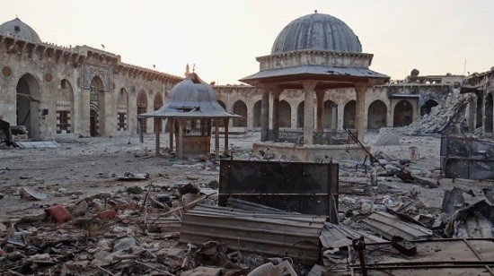 A view of the Grand Umayyad mosque damaged from clashes between the Free Syrian army and forces loyal to President Bashar al-Assad in Aleppo, November 19, 2013