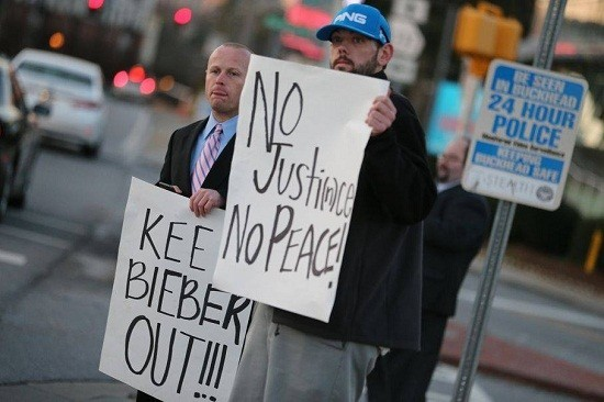 Fake protestors claiming to be Buckhead Neighborhood Coalition fueled the news that Justin Bieber was moving to Atlanta neighborhood/Facebook