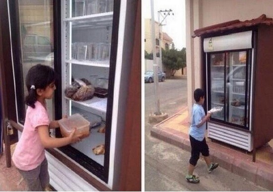 Saudi man installs refrigerator on street fills it with leftover food for the needy