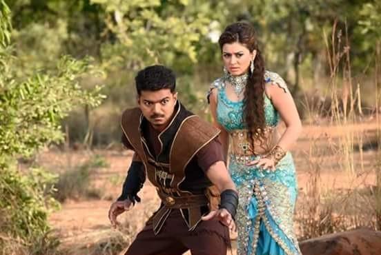 Hansika Motwani with Vijay in 'Puli'