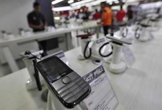 A Micromax mobile phone is kept on display at a showroom in New Delhi December 6, 2013.