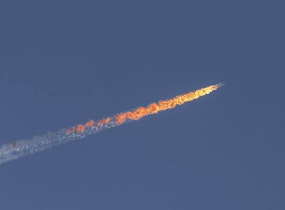 Turkey downs Russian warplane near Syria border,Russian warplane,Turkey,Russia,Syria,World news,Middle East and North Africa,Europe,Turkish F-16s