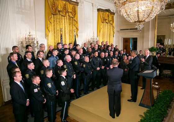 President Barack Obama and Vice-President Joe Biden honor law enforcing officials at the White House.
