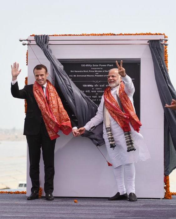 Narendra Modi,Emmanuel Macron,French President Emmanuel Macron,Solar power plant,Solar power plant at Mirzapur,Mirzapur,Jigna Power sub-station