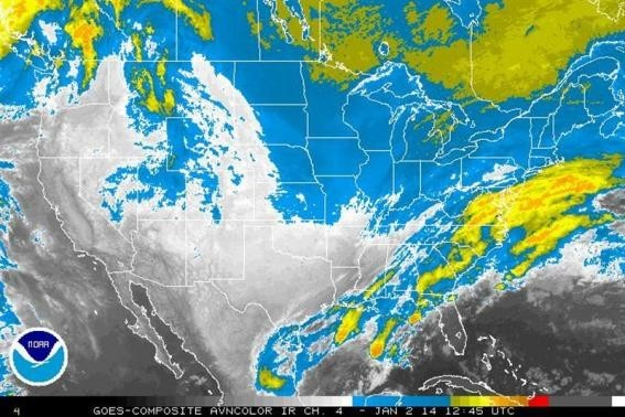 Storm systems are seen over the United States in an infrared satellite image from the NOAA taken January 2, 2014.