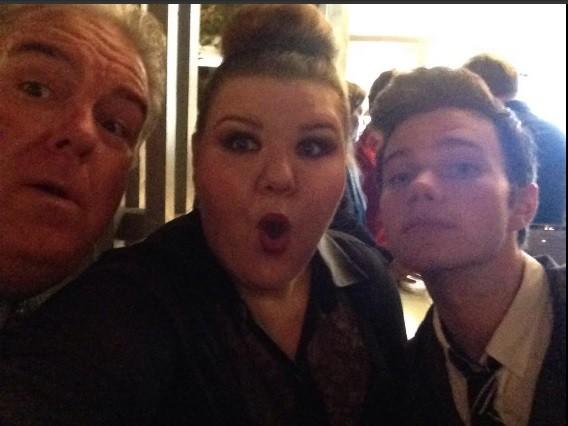 Chris Colfer with Jim O'Heir and 'Glee' Co-star Ashley Fink