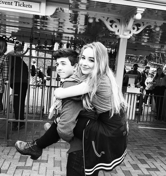 Bradley S Perry and Sabrina Carpenter in Disneyland