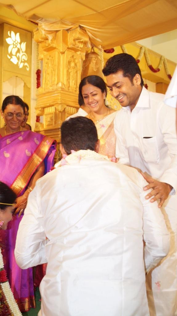Actor Suriya with his wife Jyothika at SR Prabhu wedding
