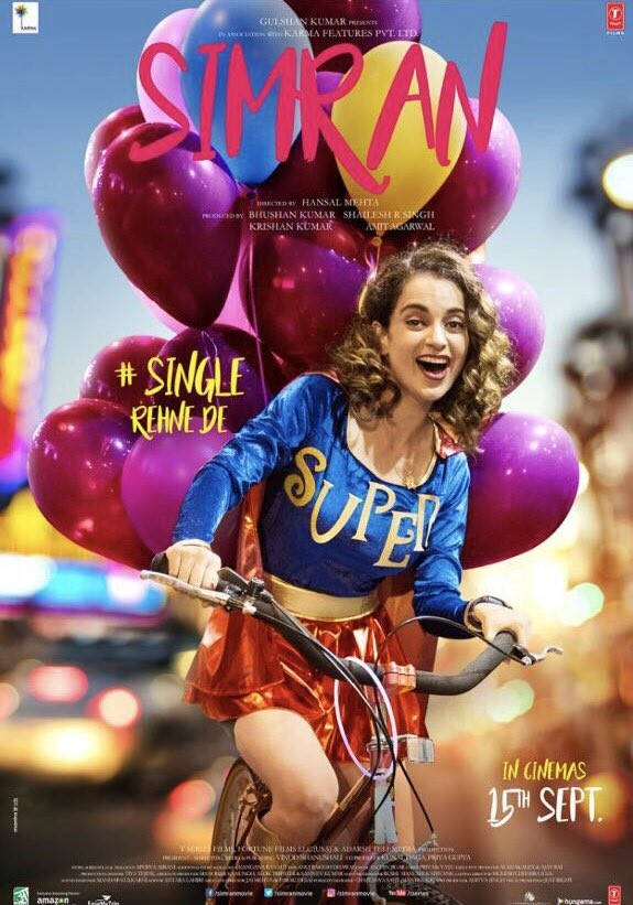Kangana Ranaut,Kangana Ranaut as Simran,Simran movie poster,Simran poster,Simran,Bollywood movie Simran,Simran new poster