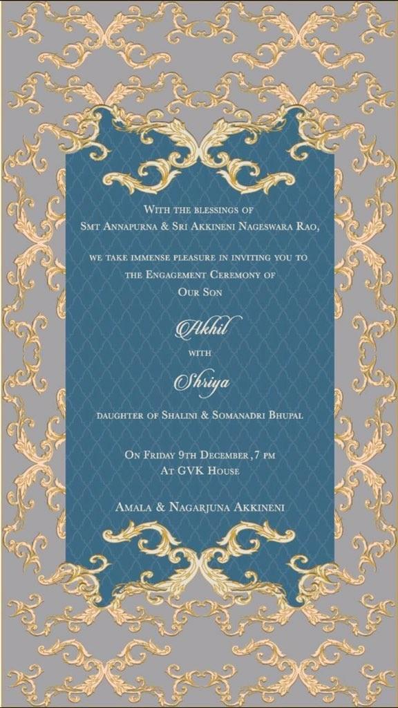 Akhil Akkineni,akhil,Akhil Akkineni Wedding,Akhil Akkineni marriage,.Akhil Akkineni and Shirya Bhupal,Shirya Bhupal,Akhil Akkineni Engagement Invitation Card,Akhil Akkineni Engagement
