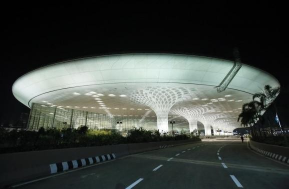 Terminal 2 building is pictured from outside at Chhatrapati Shivaji International Airport in Mumbai January 10, 2014.