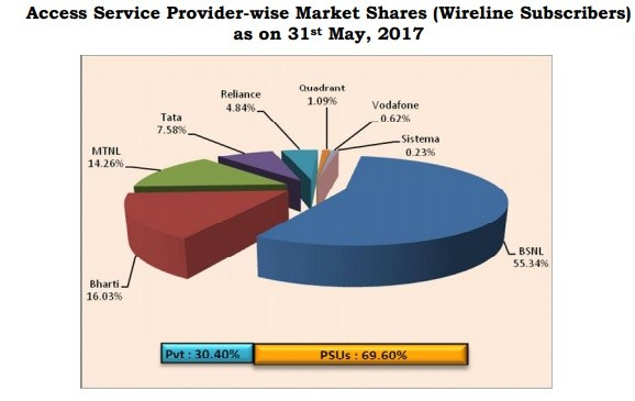 Graphical representations of service provider-wise market shares in the wireline segment