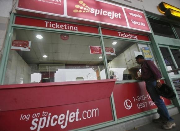 A passenger outside the SpiceJet Airlines ticket counter at the domestic airport on the outskirts of Agartala