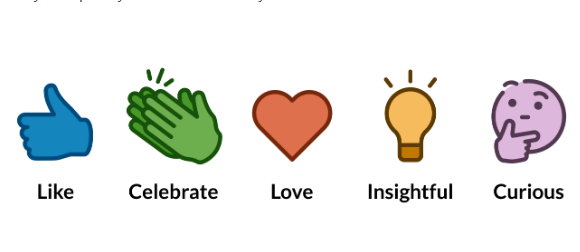 LinkedIn new reactions