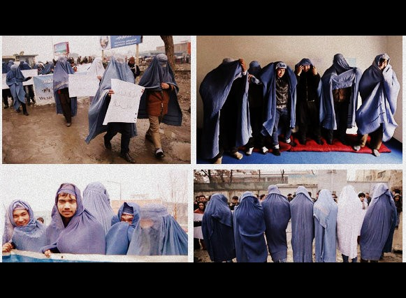 Afghan men in burqas ask for more rights for women in the country ahead of International Women's Day 2015