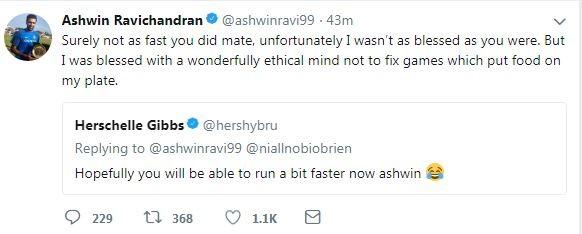 R Ashwin Tweet Gibbs