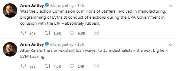Arun Jaitley tweets over the EVM hacking allegations