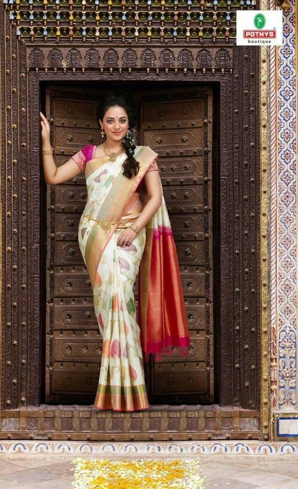 South Indian actress Nithya Menen's Pothys saree ad.