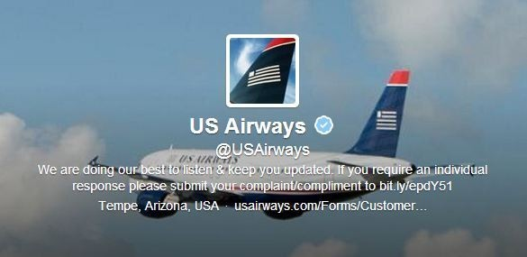 The US Airways was forced into a humiliating apology on Monday after an obscene pornographic image was posted on their Twitter page. (Photo: US Airways Twitter Account Screen Grab)