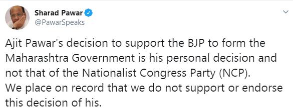 Sharad Pawar Tweet