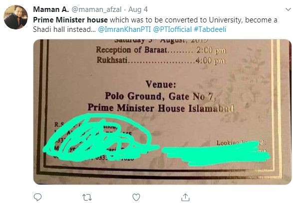 imran khan house wedding venue tweet 2