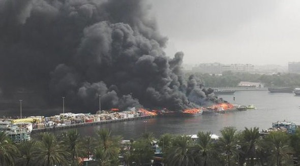 Dozens of docked vessels have been destroyed in the fire.