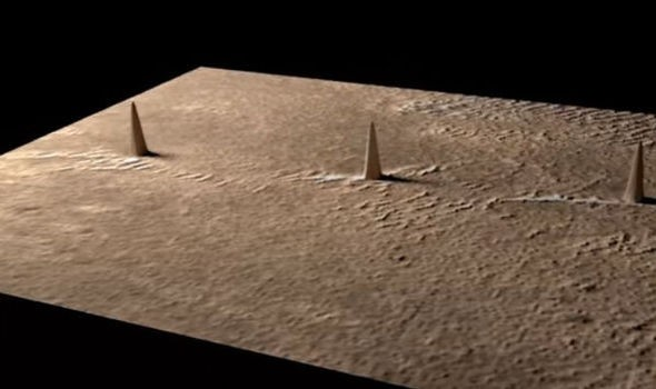 three mysterious towers discovered on the Mars
