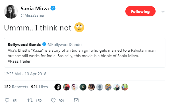 Troll compares Sania Mirza with Alia Bhatt in Raazi but gets trolled back