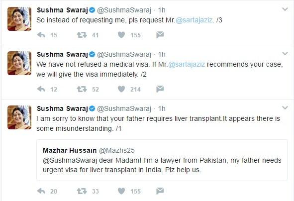 Sushma tweets back to Pakistani lawyer