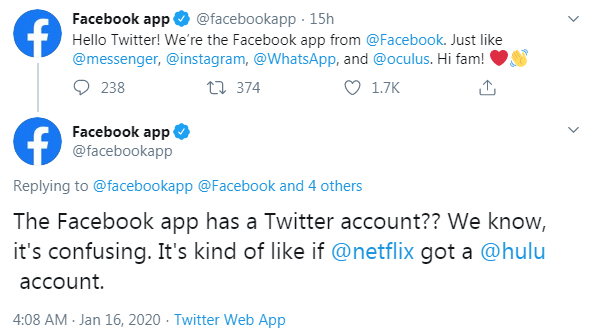 Facebook app joins Twitter, tries to be witty