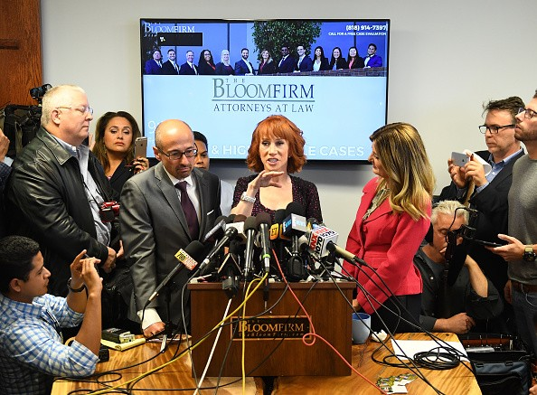 Kathy Griffin and her Attorney Lisa Bloom,Kathy Griffin,Attorney Lisa Bloom,Lisa Bloom,Kathy Griffin holds press conference,Attorney Lisa Bloom holds press conference,Griffin's controversial photo shoot