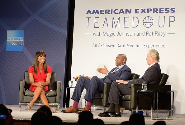 American Express teamed up with magic Johnson and Pat Riley,magic Johnson,Pat Riley,American Express,tv personality Cari Champion,Cari Champion