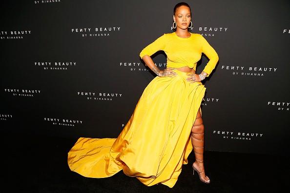 Rihanna,singer Rihanna,Braless Rihanna,Rihann strappy sandals,Rihann at Fenty NYFW beauty launch,Fenty NYFW beauty launch,NYFW beauty launch