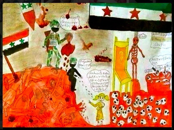 A painting by elementary school girl Noran, who was reportedly killed in the Syria school bombing on April 30.