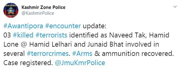 J&K Police Tweet