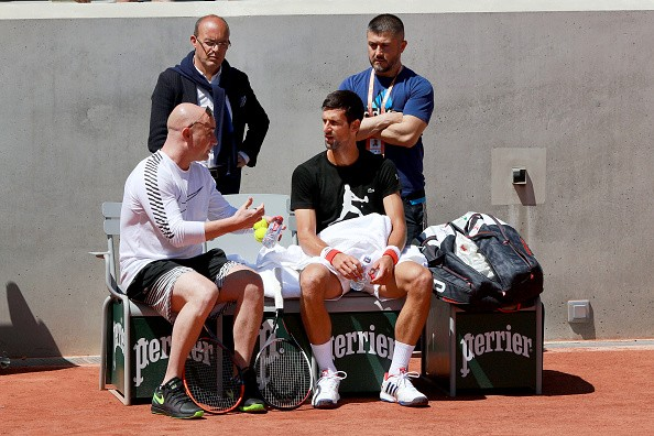 Andre Agassi, Novak Djokovic, French Open, practice, coach