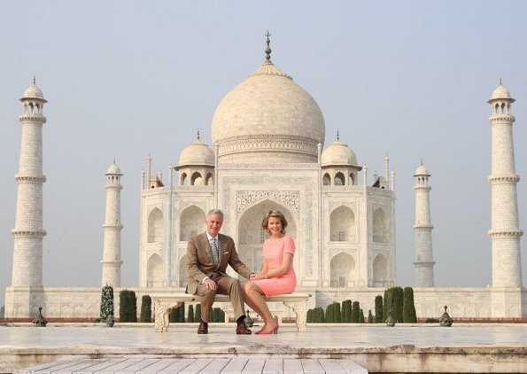 King Philippe and Queen Mathilde,King Philippe,Queen Mathilde,King Philippe,Queen Mathlide visit Taj Mahal,King Philippe visits Taj Mahal,Queen Mathlide visits Taj Mahal,Taj Mahal