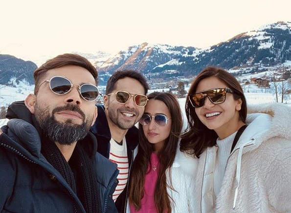 Varun Dhawan and Natasha Dalal with Virat Kohli and Anushka Sharma