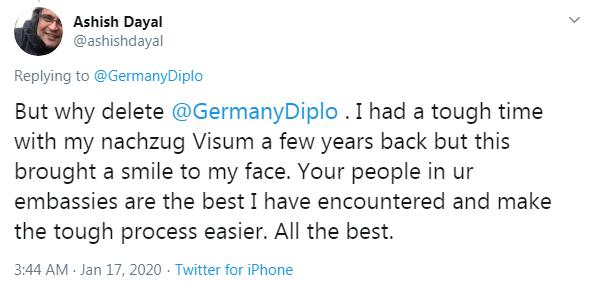 German Foreign Office tweet reactions