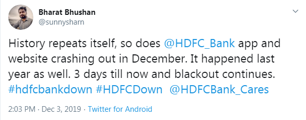 HDFC Bank digital services down for two days now