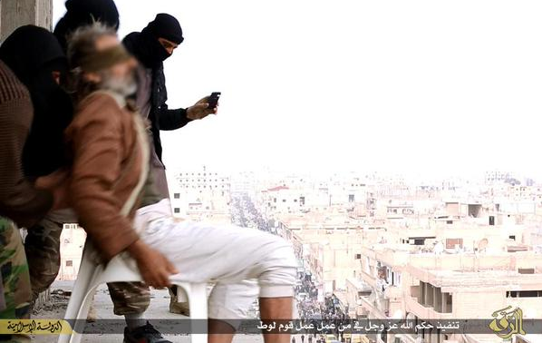 The man in his 50s was blindfolded and made to sit on a chair before being thrown down from a 7-floored building in Raqqa