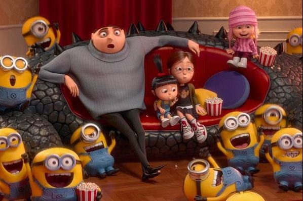 Gru with his daughters and the minions