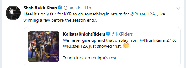 Shah Rukh Khan tweets about Andre Russell