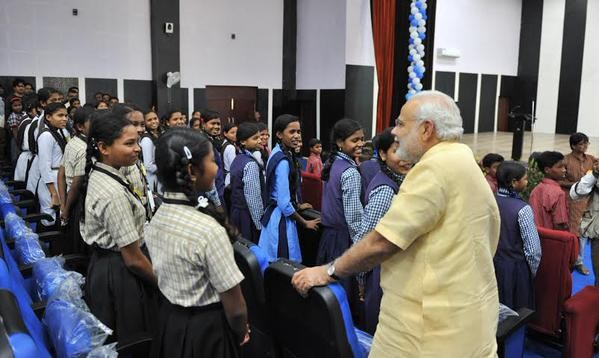 PM Shri Narendra Modi interacting with the students at Livelihood College in Dantewada, Chhattisgarh
